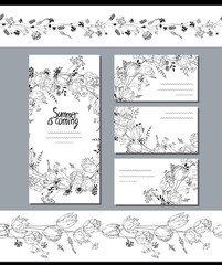Black and white template with  tulips.  Flowers for romantic design, decoration,  greeting cards, posters, wedding invitations, advertisement.