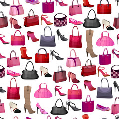 Seamless pattern with womans bags and shoes.  Endless texture for your design, announcements, advertisement, posters.