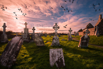 Historic cemetery in Clonmacnoise ,Ireland Wall mural