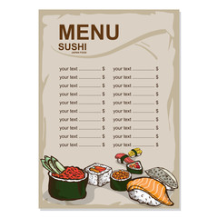 menu japanese food drawing graphic  design objects template