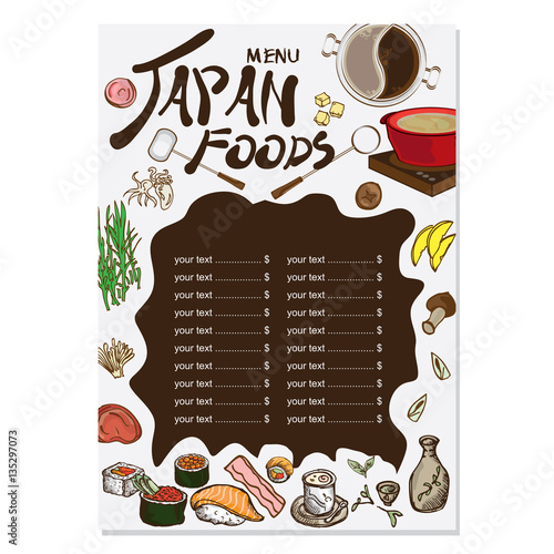 Menu japanese food drawing graphic design objects for Akina japanese cuisine menu
