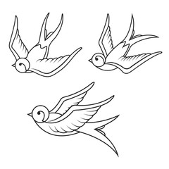 Set of swallow tattoo templates isolated on white background. Bi