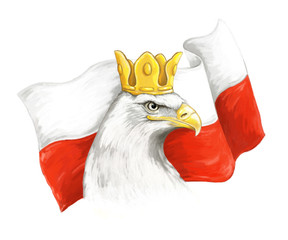 Cartoon eagle and polish flag - head in crown - illustration for children