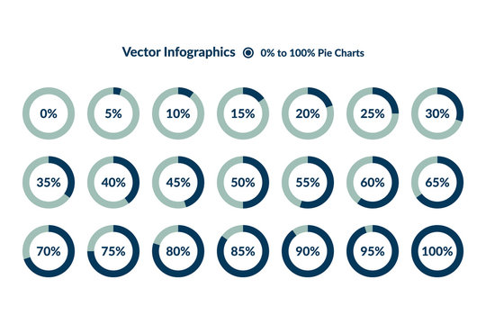 5 10 15 20 25 30 35 40 45 50 55 60 65 70 75 80 85 90 95 100 0 percent blue Circle Charts. Percentage vector infographics. Pie Diagrams isolated. Business Illustration