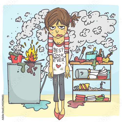 "Funny Messy Kitchen: ""Funny Vector Cartoon Of Angry And Stressed Woman In Messy"