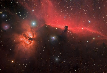 Horse Nebula and Flame Nebula