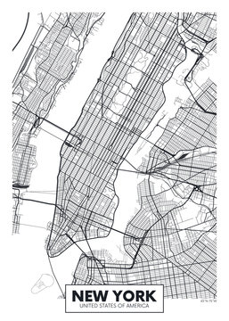Vector poster map city New York