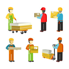 Peope Workers in Warehouse Interior Isoated.