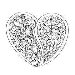 Hand-drawn vector mandala heart, book page mandala, coloring boo