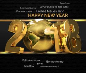 multilingual 2018 golden symbol happy new year 3d render