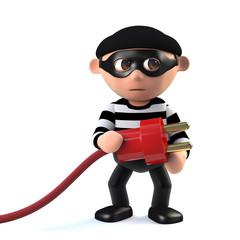 3d Funny cartoon criminal burglar character holding a power lead