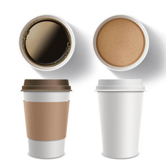 Set of plastic containers of coffee. Isolated mockup on a white