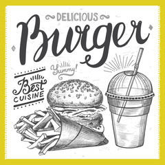 Burger food element for restaurant and cafe.
