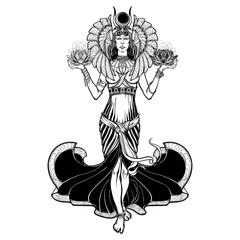Egyptian goddess Isis balancing in hands black and white lotus as a symbol of life and death. Vintage art nouveau style concept art . EPS10 vector illustration.