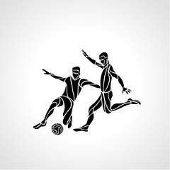 Soccer or football players kicks the ball, sportsman silhouette