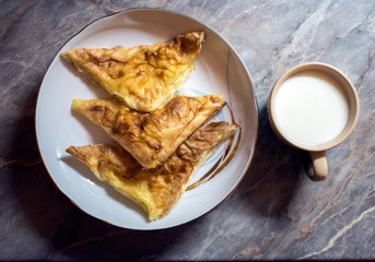 Burek with cheese.Balkanic pie on the plate and yogurt