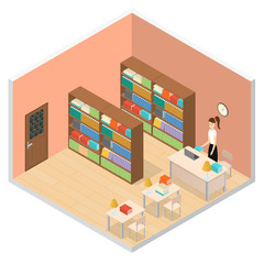 Interior Public Library Isometric View. Vector