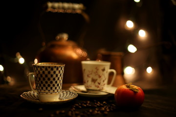 Coffee and Tea Cups, Cozy Tea Party