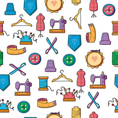 Hand made and hobby tools colorful icon seamless pattern
