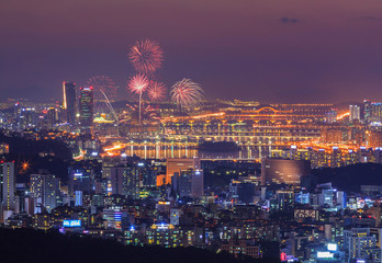 Fireworks Festival and Seoul City, South Korea.