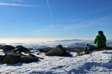 Bergsteigerin - Pause