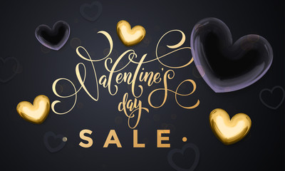 Valentine day sale gold heart glitter poster