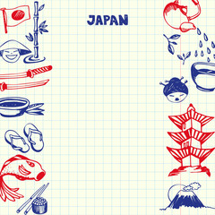 Japan national symbols. Japaneses cultural, culinary, nature, historical, architectural hand drawn doodles on sides of squared paper sheet with copy space in center vector. Pen sketched asian icons