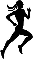 young slender female runner athlete running silhouette black