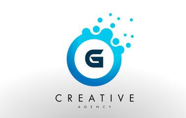 g Letter Logo. Blue Dots Bubble Design Vector