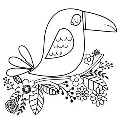 Doodle cute illustration of toucan bird