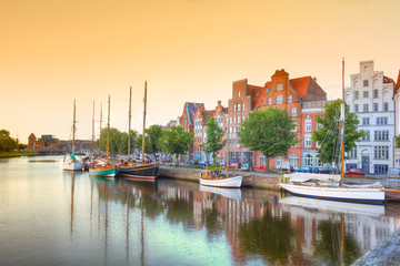 Luebeck at the river trave, Germany