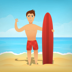 Vector cartoon illustration with surfer character on the summer beach. Concept of surfing and vacation.