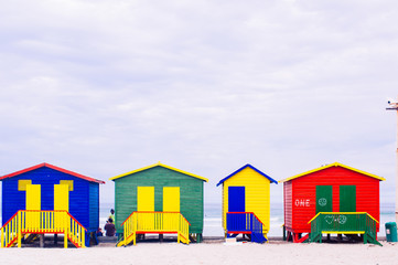 Colorful beach huts at St. James Bay near Simons Town Western Ca