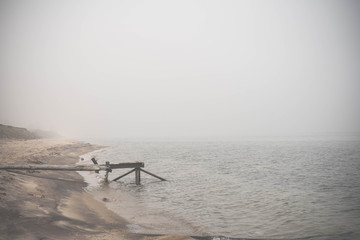 View on Lake Baikal under the fog