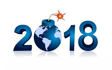 year 2018 and bomb with world map