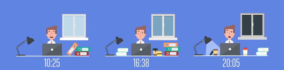 Business life workaholic worker in office day and night scene vector illustration