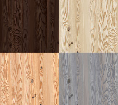 Set of vector wooden texture with natural pattern