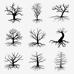 Old dark trees with roots. Vector dead forest