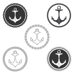 Vintage anchor logo elements set with boat rope and ship chain. Navy seals labels anchors vector