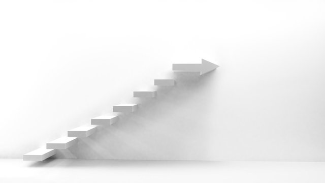 White stairs with arrow