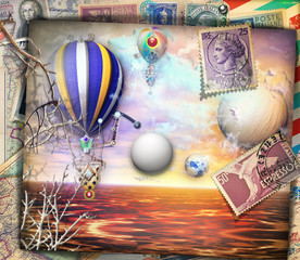 Steampunk hot air balloons in the enchanted country-old fashioned postcard