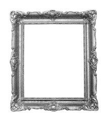 Beautiful vintage silver color frame for paintings decorated with carvings and ornaments