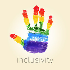 rainbow handprint and text inclusivity