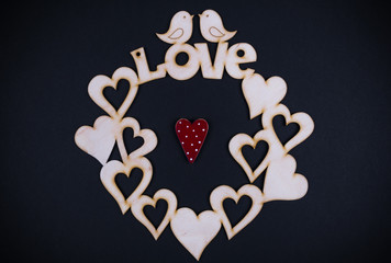heart and word love on the black background