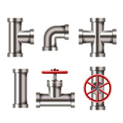 Realistic metallic water pipe set with tap, corner, and cross elements, isolated on white