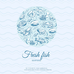 Seafood concept. Template with fish silhouettes for menu or brochure. Vector illustration
