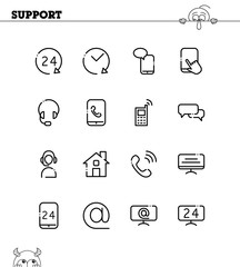 Support and help icon set