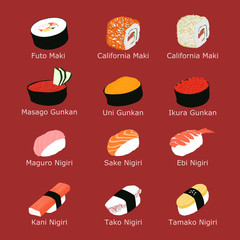 Many kinds of sushi with their japanese name on carmine background.