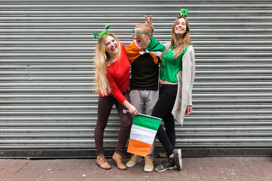 Young Group of Friends Celebrating St Patrick's Day in Dublin Ir