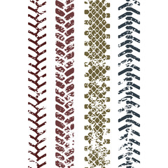 Colorful tire tread protector track on white grunge seamless pattern, vector set